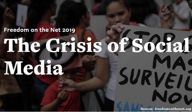"The Freedom of Net report 2019 - ""The Crisis of Social Media"""