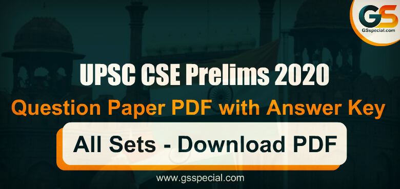 UPSC CSE Prelims 2020 Question Paper PDF with Answer Key